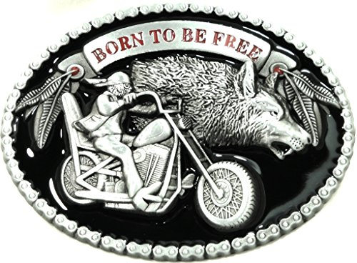 Born To Be Free Motorcycle Biker Belt Buckle with Wolf 3D Sculpted Design