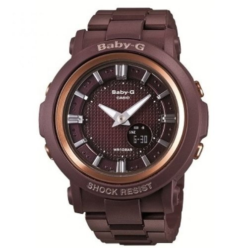 Baby-G Women's Quartz Watch with Brown Dial Analogue - Digital Display and Brown Resin Bracelet BGA-301-4AER