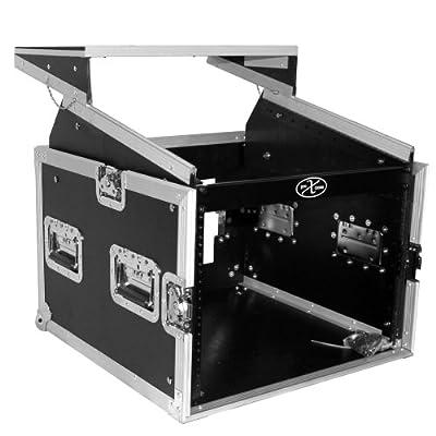 ProX Cases T-8MRLT 8 Space 10U Top Load Slant DJ Mixer Road Gig Ready Flight Case Combo Rack w/Gliding Laptop Shelf