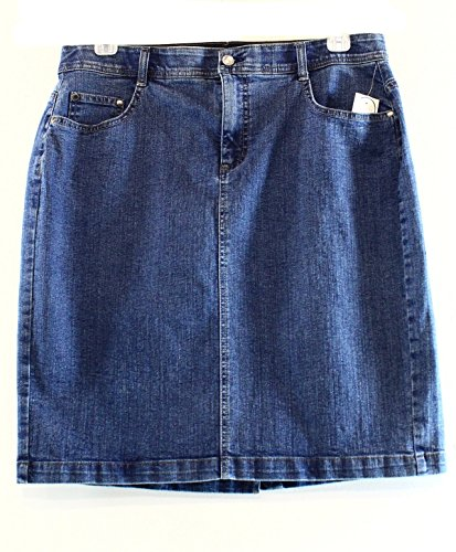 Charter Club Elastic Waist Denim Skirt, Antique Indigo (14W)
