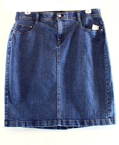 Charter Club Elastic Waist Denim Skirt, Antique Indigo (14W)
