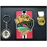 Chicago Blackhawks Spinning Keychain,Luggage ID Tag and a Brass Money Clip
