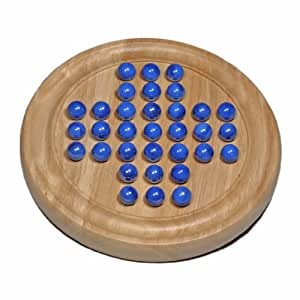 WE Games Solid Wood Solitaire with Blue Glass Marbles - 9 in. Diameter