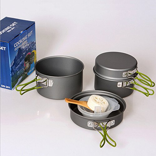 Usmile 9pcs Picnic Camping Hiking Backpacking Pot Pan Cookware Outdoor Cooking bowl set