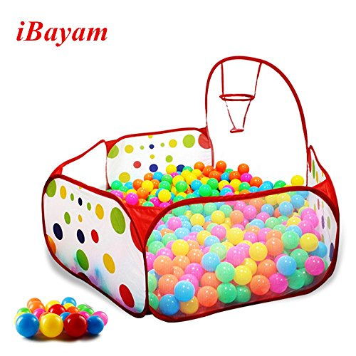 iBayam Toy Play Tent 47 inches Foldable Baby Ball Pit Kids Playpen Children Play Pool Hexagon Polka Dot with Basketball Hoop for Kids (Balls Sold Separately)