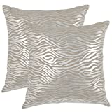 Safavieh Pillow Collection Throw Pillows, 18 by 18-Inch, Demi Pillow Silver, Set of 2