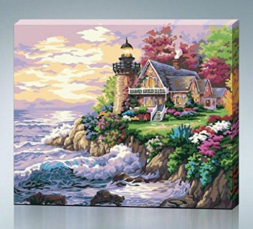 Seaside Villa-Art-Bild Großer klassischer Gemälde auf Leinwand Druck ohne Rahmen Modern Home Schmuck Wandbilder 16x20 cm