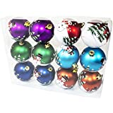 Queens Of Christmas WL-ORN-12PK-SNMN 12 Pack Ball Ornament With Snowman Design, Assorted