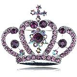 Purple Amethyst Crystal Rhinestone Silver Tone Royal Crown Design Pin Brooch