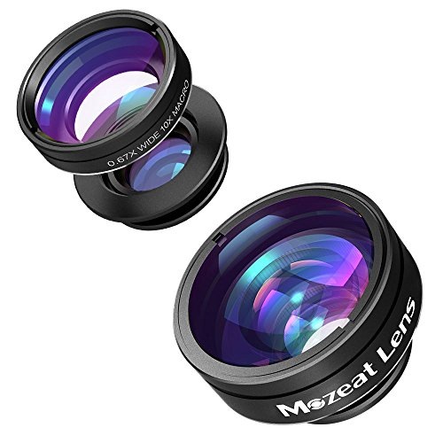 Mozeat Lens 3 in 1 Cellphone Camera Lens Kit, Fisheye, 0.67 Wide Angle, 10X Macro Lens for iPhone