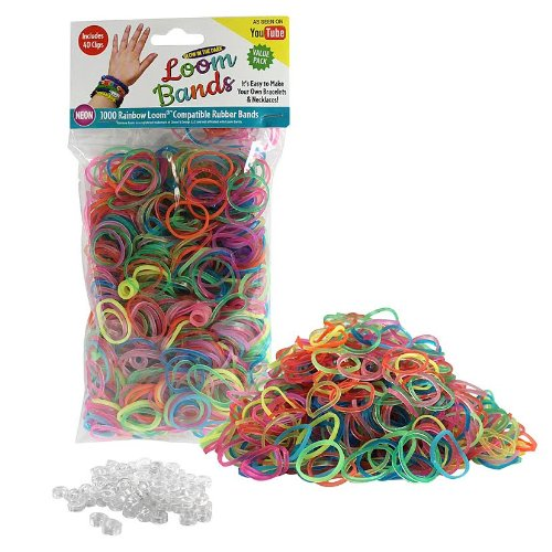 Loom Rubber Bands - 1000 Glow in the Dark Neon Rubber Band Refill Value Pack with Clips (6 Neon Colors) - Latex Free - 1