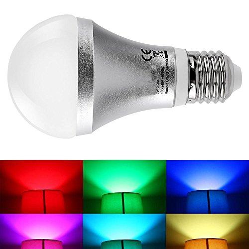 JnDee Farbwechsel-Lampe, RGNB, 5W, E27 Edison-Gewinde, dimmbar, mit IR-Fernbedienung, Wandschalter und Memory-Funktion
