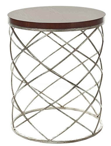 Safavieh Phoebe Accent Table, Wood Top/Silver