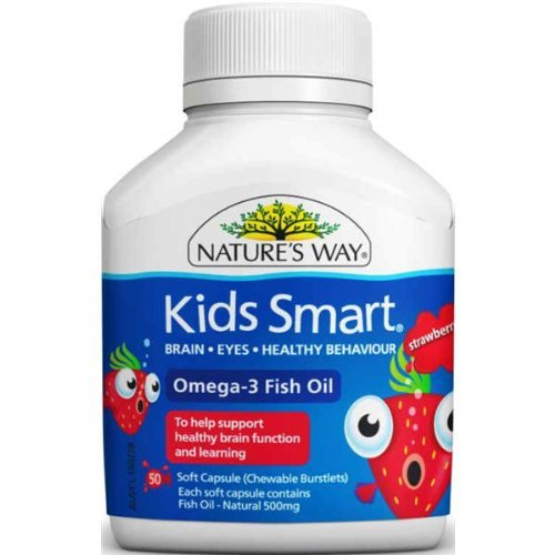 Nature'S Way Kids Smart Omega 3 Fish Oil Strawberry Flavour,50 Soft Capsules (Chewable Burstlets) For Brain, Eyes, Healthy Behaviour