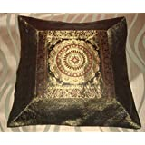 CRAFT OPTIONS SILK BROCADE WITH CENTRE GEOMATRIC CUSHION COVER (BLACK COLOR)