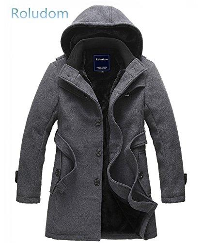 Roludom Men's Parka Luxury Faux Fur Long Winter Jacket Hooded Overcoat