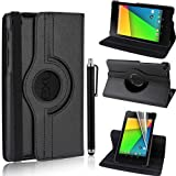 GSDSTYLEYOURMOBILE {TM} Asus Google Nexus 7 2nd Generation 2013 BLACK FLIP WITH BUILT IN MAGNET SLEEP/WAKE 360 DEGREE STANDBY PU LEATHER CASE COVER+STYLUS