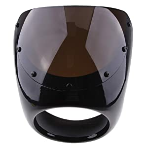 Black D DOLITY Motorcycle Front Headlight Fairing Screen Retro Cafe Racer Style Universal Windshield Fit 7 Inch Head Light