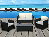 Miami Beach Collection - 4 Pc Outdoor Rattan Wicker Sofa Sectional Patio Furniture Set (Black / Ivory Cushions)