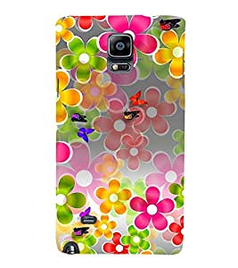 MULTICOLOURED FLORAL PATTERN 3D Hard Polycarbonate Designer Back Case Cover for Samsung Galaxy Note 4 N910 :: Samsung Galaxy Note 4 Duos N9100