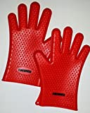Endorsed by Firemen! Heat Resistant FDA Approved Premium Silicone BBQ Grill Gloves / Oven Gloves. Waterproof & Dishwasher safe - Can Withstand Temps of up to 425 Degrees - Perfect as Outdoor Protective Barbeque Grilling Gloves and/or Kitchen 5-Finger Heat Resistant Thermal Gloves - Superior Protection at Great Price! No-Hassle, Lifetime Guarantee Included!