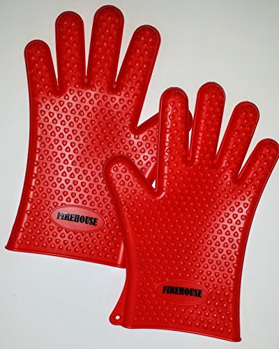 Endorsed By Firemen! Heat Resistant Fda Approved Premium Silicone Bbq Grill Gloves / Oven Gloves. Waterproof & Dishwasher Safe - Can Withstand Temps Of Up To 425 Degrees - Perfect As Outdoor Protective Barbeque Grilling Gloves And/Or Kitchen 5-Finger Heat