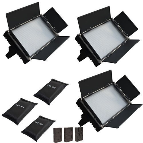 Iled 576A Daylight Led Studio Panel 3-Light Kit With V-Mount Plate And Lcd Touch Screen + Battery Converter Adapter + Softbox