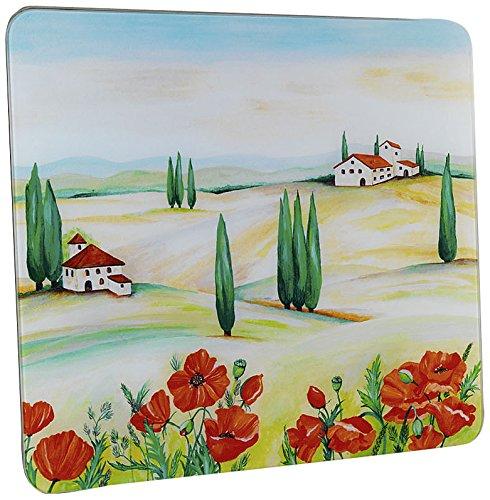 WENKO 2712957500 Plaque multi Toscane - pour plaques de cuisson vitrocéramiques, planche à découper, Verre trempé, 50 x 0.5 x 56 cm, Multicolore