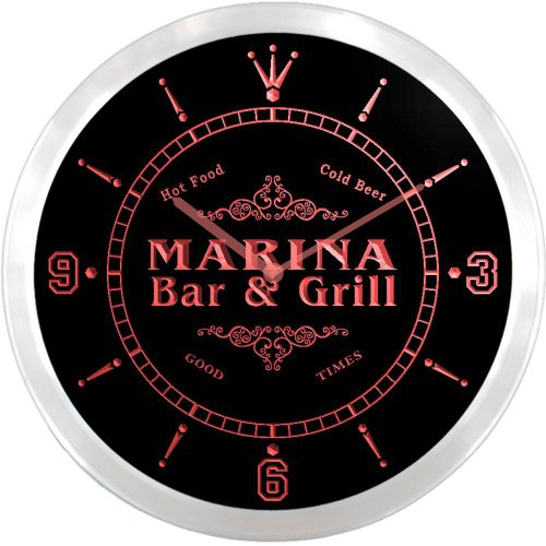 Ncu28428-R Marina Family Name Bar & Grill Cold Beer Neon Sign Led Wall Clock