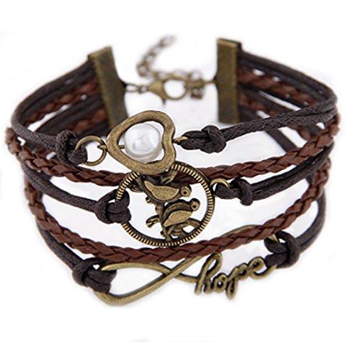 Bracciale stile vintage unisex in pelle con simbolo dell'infinito hope, ciondolo con uccellini e perla di DesiDo®
