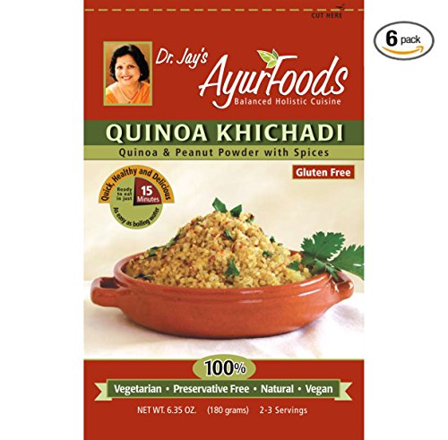 Dr. Jay's Ayurfoods Quinoa Khichadi 6 Pack, with Tasty Indian Spices for Health, BEST Gluten FREE Quinoa Mix for Paleo, Vegan and Vegetarian Meals, Made in USA with non-GMO ingredients (Ready Made Meals For Weight Loss compare prices)