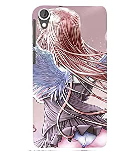 Printvisa Premium Back Cover Rear View Of A Girl With Wings Design For HTC Desire 820::HTC Desire 820Q::HTC Desire 820S