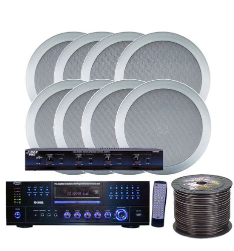 Pyle Kthsp85Dvsl 4 Room Home In-Ceiling Speakers W/Dvd/Mp3 Amp System (Silver)