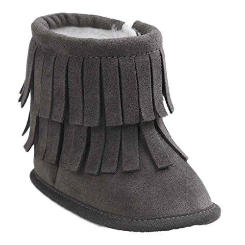 Kingko® Regalo di Natale del bambino del bambino del pattino infantile Snow Boots suola molle Prewalker greppia Scarpe Scarpe invernali Stivali per il neonato (6~12 mesi, Grigio scuro)