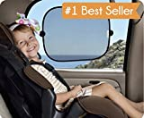 "Deluxe Easy Stick Window Sun Shades ®, 2-Pack for car or truck - Provides SPF-30 car window shade, FREE BONUS Ebook: ""Taking Your Kids on an Adventure"". Large high quality sunshades keep you cool - Window shades for your baby - Sun protection for your Kids and Pets - easy to stick, easy to remove window sunshade - 90-Day No Risk Guarantee"