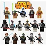 Wem 16Pcs/lot Star Wars Clone Troopers C-3PO Darth Vader Chewbacca Master Yoda Minifigures Sith Jedi Knight Collection Mini Figure