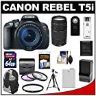 Canon EOS Rebel T5i Digital SLR Camera & EF-S 18-135mm IS STM Lens with EF 75-300mm III Lens + 64GB Card + Battery + Backpack + 3 UV/FLD/CPL Filters Kit