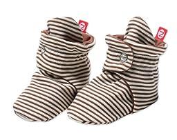 Zutano Unisex-Baby Newborn Candy Stripe Booties, Chocolate, 3 Months