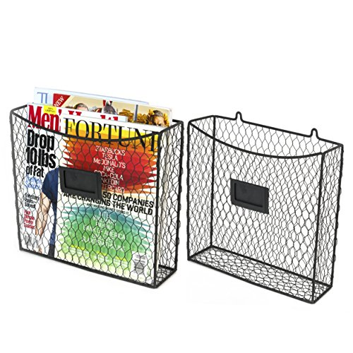 Set of 2 Country Style Chicken Wire Wall Mount Hanging Magazine Rack Storage , Literature Display Racks and Holders (Black) (Chicken Wall Shelf compare prices)