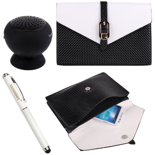 Pu Leather Diamond Pouch Bag Case For Samsung Galaxy S5 / S4 / Siii / Active / Zoom / Mini + Stylus Pen + Black Bluetooth Speaker (White & Black)