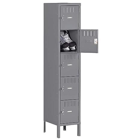 Assembled Locker, 5 Tier, W 12, D 18, Gray