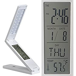 LED Desk Lamp with Display,MKQPOWER Portable USB Charging Touch Switch Folding Table Light Multifunctional Lamp with Time,Date, Alarm Clock, Calendar,Temperature Display Can Hang on Wall(white) by MKQPOWER
