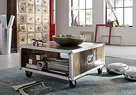 Massivholz Altholz Eisen lackiert Couchtisch/Container 80x80 Massivmöbel Industrial-Stil Möbel massiv Industrial #101
