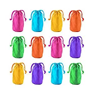 "Super Z Outlet 7"" X 4.5"" Neon Colored Canvas Pouch Bags Sacks With Drawstring Closure For Birthday Party Favors, Snacks, Decoration, Jewelry, Gifts, Event Supplies By Super Z Outlet"