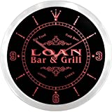 ncu26777-r LOAN Family Name Bar & Grill Cold Beer Neon Sign LED Wall Clock