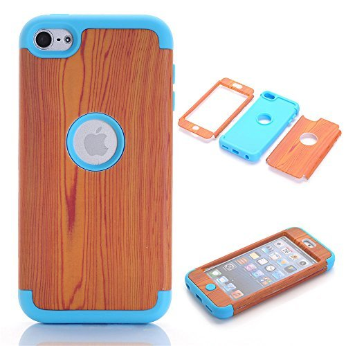 Topforcity? F PC + TPU Wood Grain Pattern Hybrid Impact Armored Hard Case for Apple ipod touch 6 with Screen Protector (Blue)