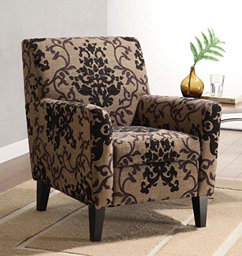 Armen Living 2010 Fiesta Club Chair, Brown Medallion Design Fabric