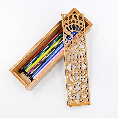 Aisa Wooden Hollow-carved Pencil Box Multifunctional Pencil Case for Student Special Gifts for Children/kids (Butterfly pattern)