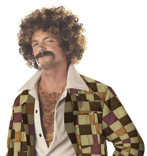 Disco Dirt Bag Wig and Moustache - Adult Std.