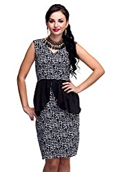 Ethnic Route Black & White Crepe Dress for Women (Size: X-Large)